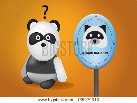 vector illustration no panda area cartoon beware raccoon