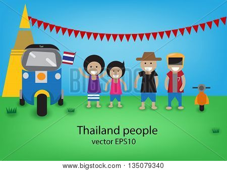 thailand people cartoon style vector with tuk tuk eps10
