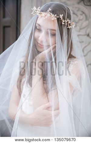 Portrait of smiling beautiful young bride in wreath covered with veil