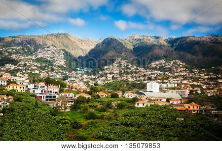 beautiful view of the small white houses in the Funchal's suburbs Madeira island Portugal