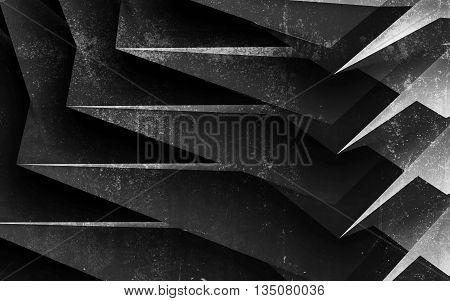 Black Chaotic Concrete Structure, 3 D Render