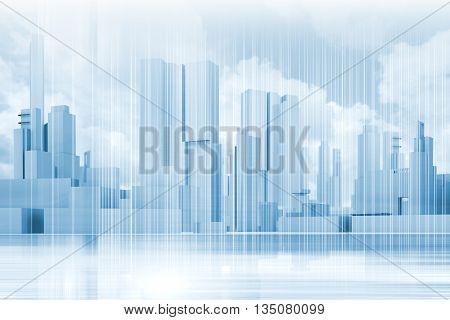 Abstract Contemporary Blue City Background