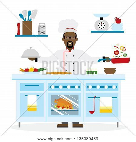 Male african american chef cooking on white background. Restaurant worker preparing food. Chef uniform and hat. Table and cafe equipment.