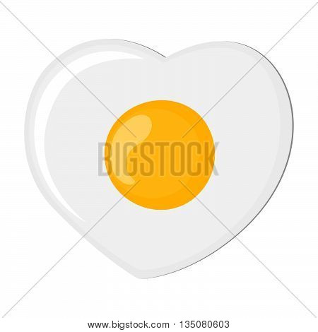 Isolated fried egg on white background. Protein nutrition breakfast. Fast meal. White and yolk. Morning cooking. Heart-shaped omelet.