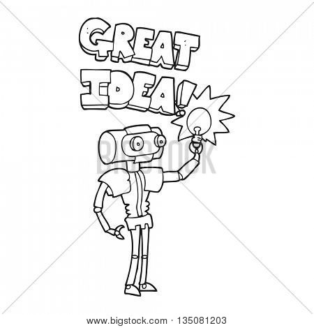 freehand drawn black and white cartoon robot with great idea