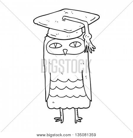 freehand drawn black and white cartoon wise owl