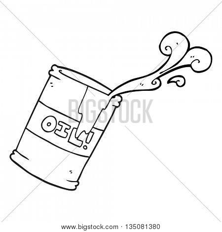 freehand drawn black and white cartoon oil drum