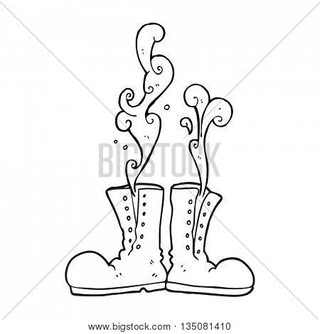 freehand drawn black and white cartoon steaming army boots