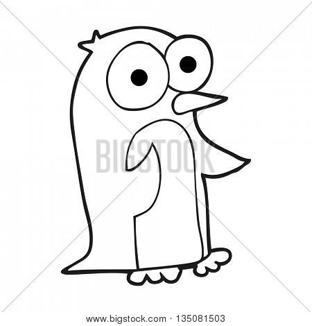 freehand drawn black and white cartoon penguin with big eyes