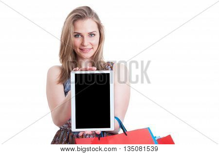 Cheerful Shopper Smiling And Holding Portable Tablet With Blank Screen