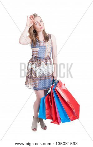 Pretty Shopper With Colorful Shopping Bags Looking Exhausted