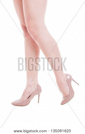 Close-up Of Woman Model Legs Walking With High Heels