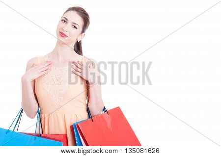 Pretty Lady Shopper Being Happy Or Content And Smiling