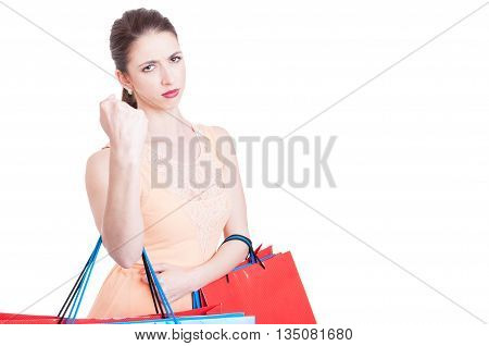 Furious Woman At Shopping Posing In Fight Position