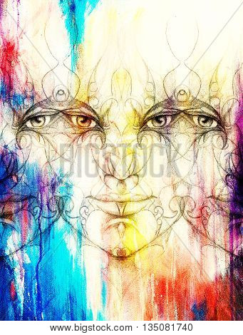 Mystic Man Face With Floral Ornament. Drawing On Paper, Color Effect. Eye Contact.