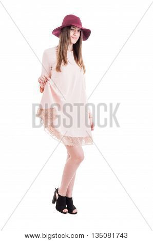 Youngh Beautiful Girl In Nude Dress And Trendy Footwear
