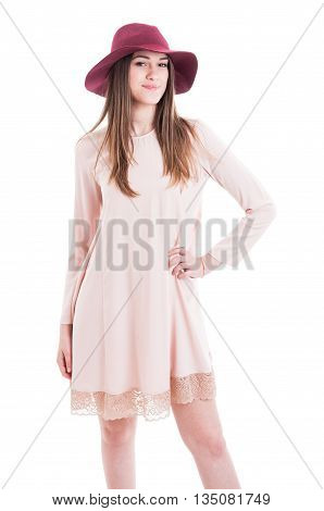 Fashion Photo Of Stylish Young Girl Posing In Modern Clothes