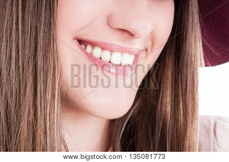 Laughing Woman Mouth With Perfect Teeth And Bright Smile