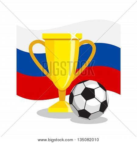 Football or soccer ball with cup and russian flag on white background. Concept of championship, league, team sport. Concept of prize, leadership, winning and success. Winner award.