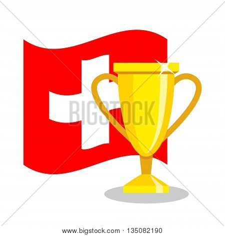 Golden cup with swiss flag on white background. Concept of championship, league, team sport. Concept of prize, leadership, winning and success. Winner award.