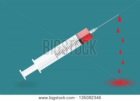 A syringe with needle on blue background - shot. Vector Illustration. EPS10