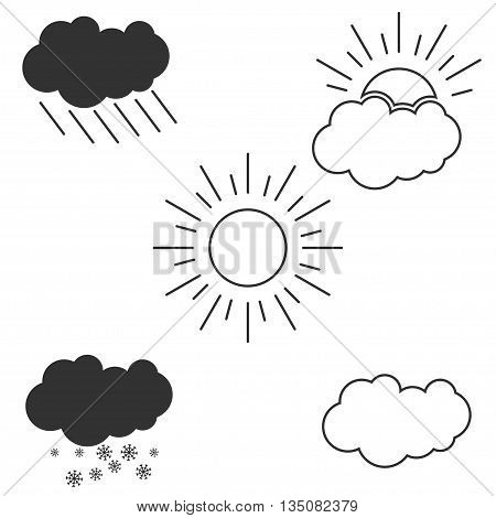 Vector set of outline weather icons. Weather conditions outline vector icon. Rainy, cloudy, sunny, snowy weather icon.