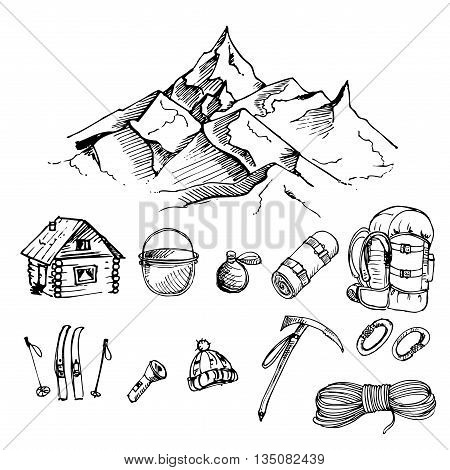 hand drawn ink vector set of climbing, mountain camping, mountain, rope, backpack, alpenstock, carabiner, skiing, Mat, pot. vector eps 8