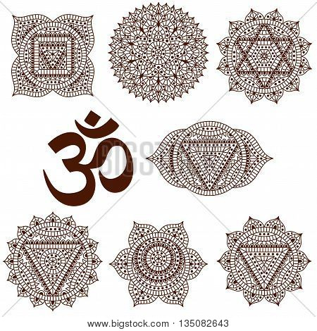 Set of seven chakras. Oriental ornaments for henna tattoo and for your design. Buddhism decorative elements. Vector illustration.