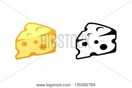 Tasty Cheese Vector Illustration Isolated on White Background. Yellow and Black colors.