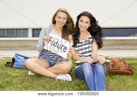 Concept about students thinking about her future after secondary school