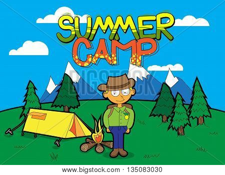 Summer Camp vector cartoon poster with a boy.