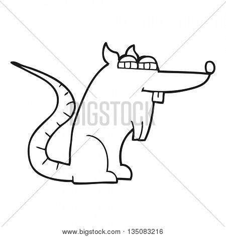 freehand drawn black and white cartoon evil rat