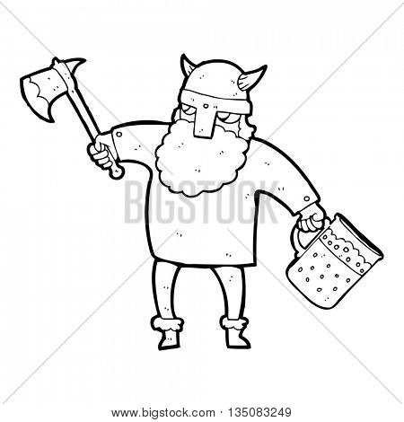 freehand drawn black and white cartoon drunk viking
