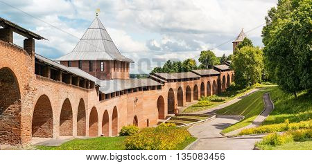 Tower and wall of middle ages fortress Kremlin in town Nizhniy Novgorod, Russia. Panorama