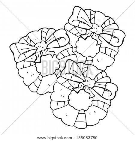 freehand drawn black and white cartoon christmas wreaths