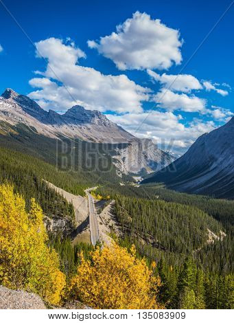 The picturesque canyon in sunny autumn day.  Canadian Rockies, Banff National Park
