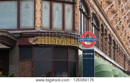 LONDON ENGLAND - OCTOBER 19 2015: London underground sign at the famous Harrods store in the Knightsbridge district