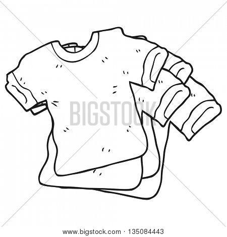 freehand drawn black and white cartoon t shirts