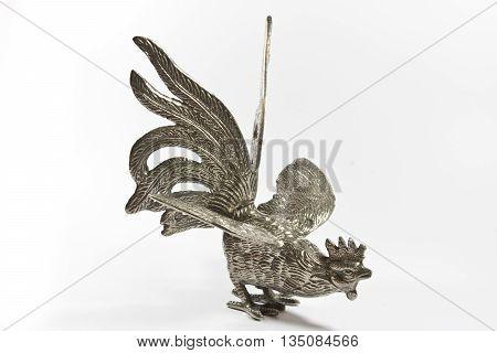 Silver metal Cockerel Statue on White Background