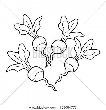 freehand drawn black and white cartoon radishs