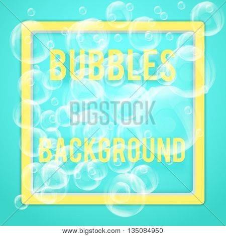 SPA aqua background with soap bubbles in pastel tones. Space for text. Vector illustration of relax and recreational. Isolated and editable.