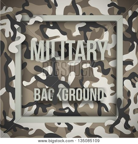 Military modern camouflage background with tags. Army symbol of defense. Vector Illustration.