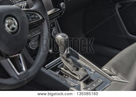 Wroclaw, Poland, May 28, 2016: Close Up On Skoda Superb Gear Box On Motoshow On May 28, 2016 In Pola