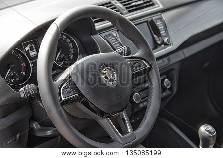 Wroclaw, Poland, May 28, 2016: Close Up On Skoda Fabia Sterring Wheel On Motoshow On May 28, 2016 In