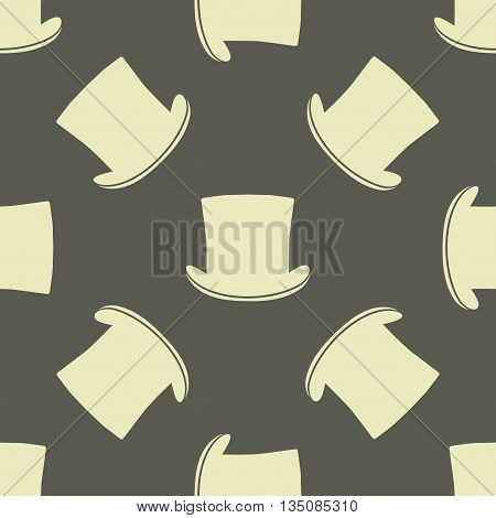 Vintage cylinder hat seamless pattern. Stylish retro print for covering or wrapping. Vector Illustration background.