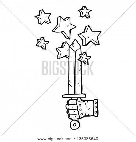 freehand drawn black and white cartoon hand holding magic sword