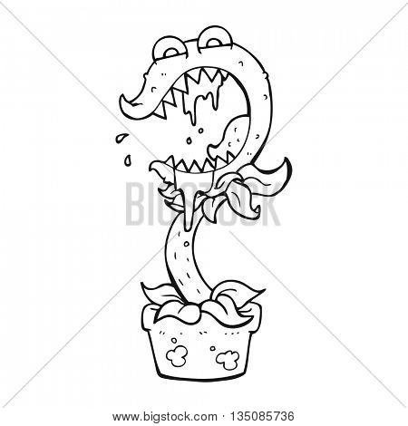 freehand drawn black and white cartoon carnivorous plant