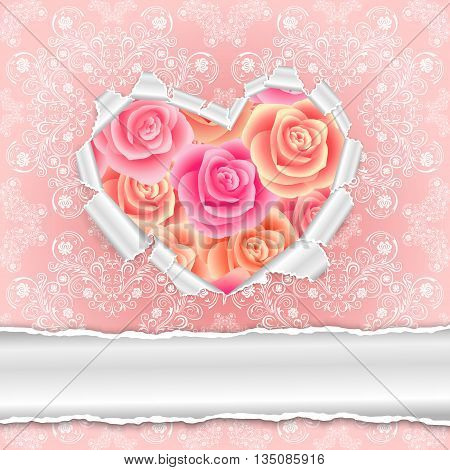 Illustration of template for wedding greeting invitation or valentines day card with torn paper heart roses and floral ornamental background