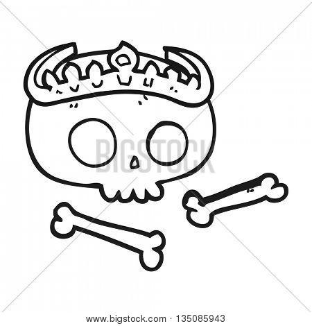 freehand drawn black and white cartoon skull wearing tiara