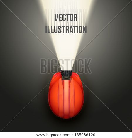 Background of Top view of Classic miners helmet with lamp and light. Vector illustration on a white background